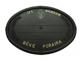 Fekete olvális sírtábla - keresztes