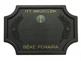 Pajzs alakú fekete sírtábla - keresztes
